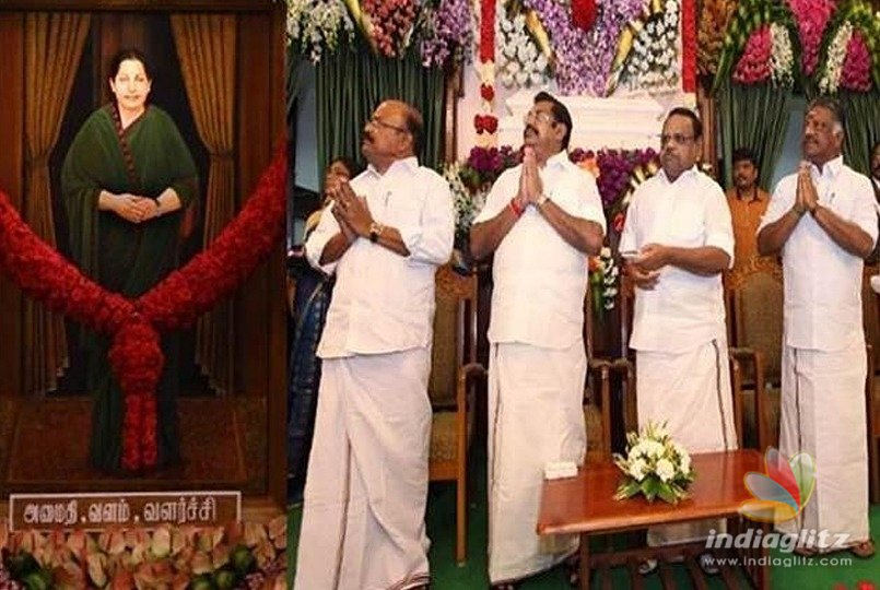 Amid Opposition boycott, Jaya's portrait unveiled in TN Assembly hall